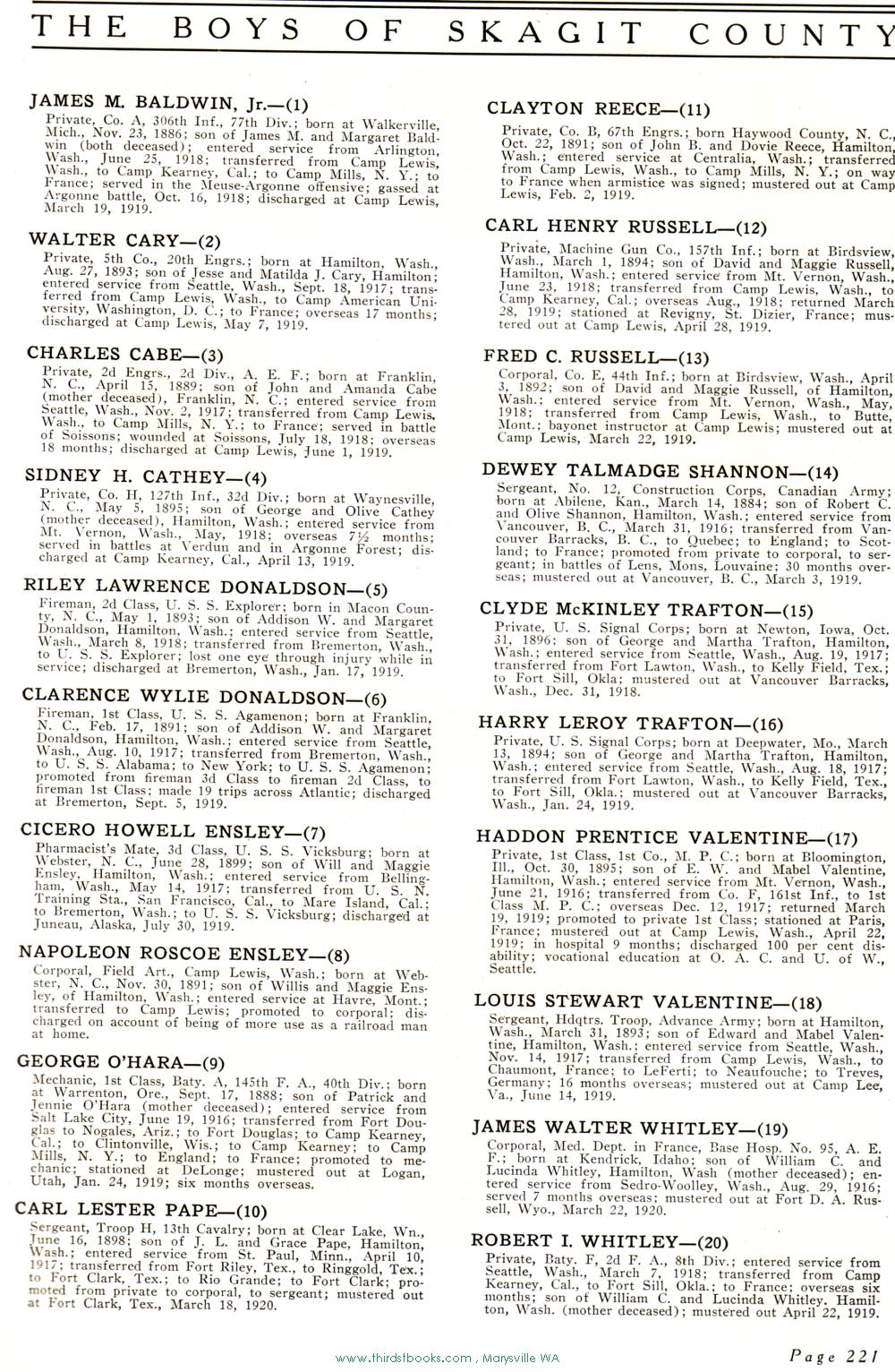Whatcom Co  WW1 Servicemen index